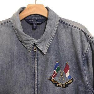 🔥VTG Polo Ralph Lauren Denim Bomber Cross Flags